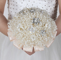 New Design Pearl Brooch Artificial Flower Bouquet wedding bouquet Holder Bridal Bouquet