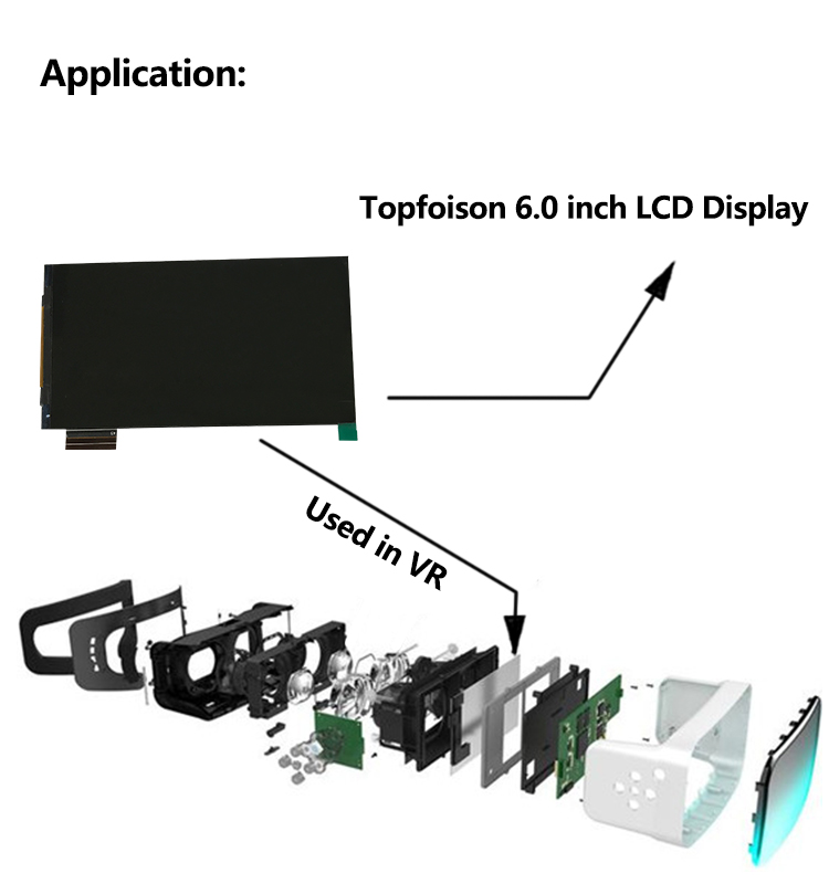 [In Stock]Topfoison 1440p 2K mipi dsi interface lcd display for vr lcd display 6 inch with U type display board for hmd