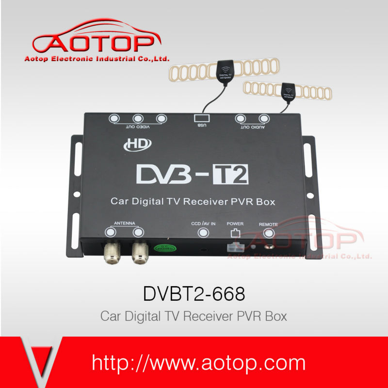Auto dvb-t2 dreambox Dual Tuner TV Receiver with 2 Antenna
