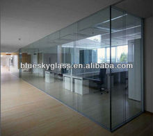 LT 12mm tempered partition glass for wall office with CE certification