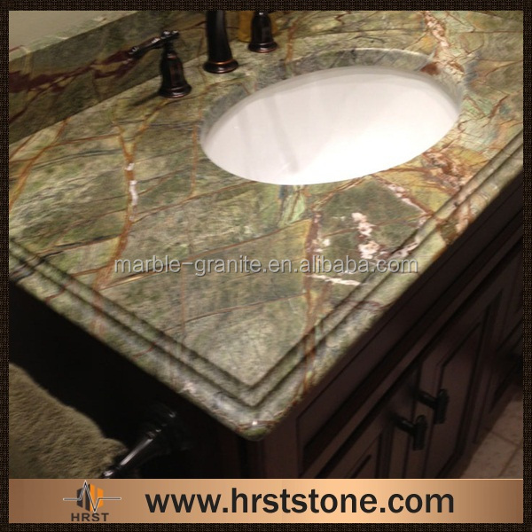 Prefab rainforest green marble bathroom countertop