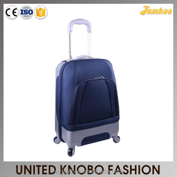 ABS and Polyester combination trolley luggage with light weight