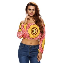 Dear-lover Reddish Print Off Shoulder Long Sleeve Crop Top wholesale sweat suits for women