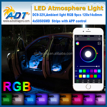 LED Glow Full Color Interior Car RGB Light Kit Under Dash Foot Well Seats Inside Lamp Auto LED Strip APP Control Bulb