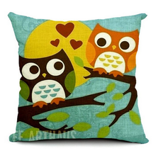 Fashion European owl pillow case 18g and 45*45cm for home decoration