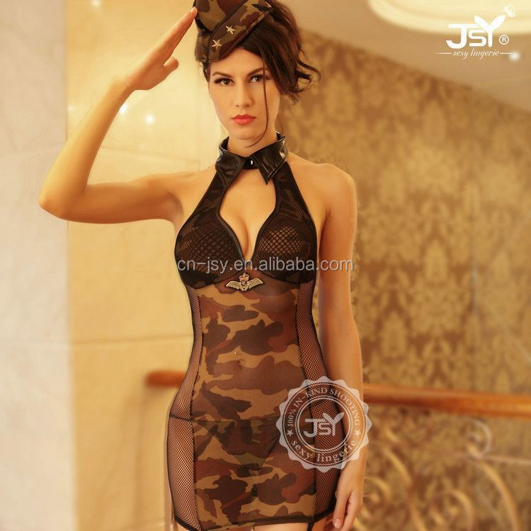 Women Sexy Army Uniform Costume Pin Up Dress Army Sex Costume