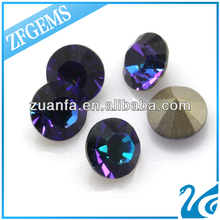 colorful round brilliant cut 8 mm cz cubic zirconium bottom plating make in china