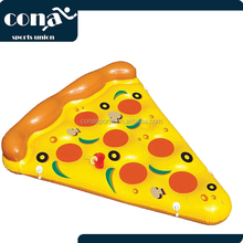 Giant Inflatable Pizza Pool Float Lounger With Connectors 6 x 5 Feet Pizza Slice Pool Float with Cup Holders