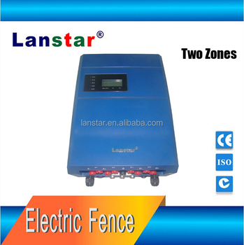 Double zone electric fence energizer remote control alarm fencing system