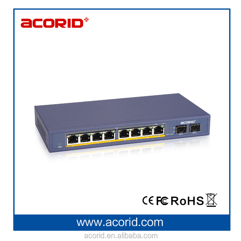 OEM price fiber network switch 8 port gigabit PoE switch for CCTC solutions