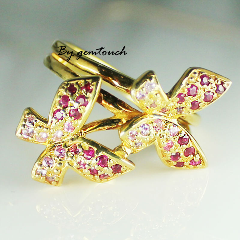 925 sterling silver ring plated gold with real Ruby and Pink sapphire