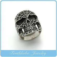 TKB-R0117 Stainless Steel Mens Gothic Biker Jewelry Sugar Skull Ring Oxidized Black