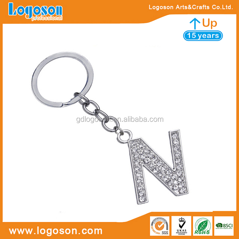 Fashionable Valentines/Birthday Gifts Diamond Alphabet Letters Keychain High Quality Rhinestone Letter N Keychain