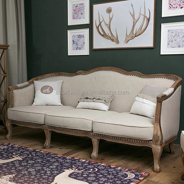 French Country Style Wing Back Nail Design Wooden Couch Sofa