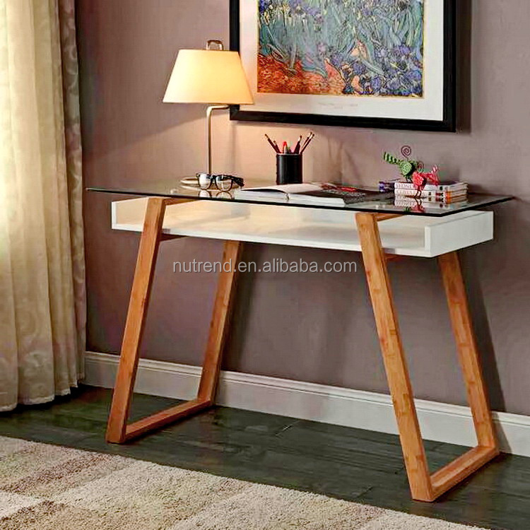 Modern Glass top wood home office desk with bamboo legs design
