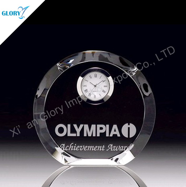 Customized design blank business crystal clock souvenirs