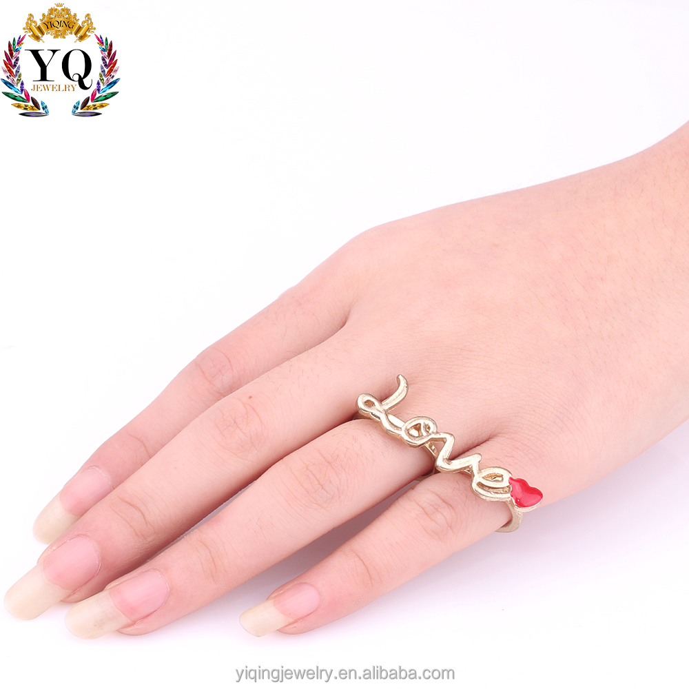 RYQ-00298 fashion design fancy two fingers gold alloy love ring for women and girls