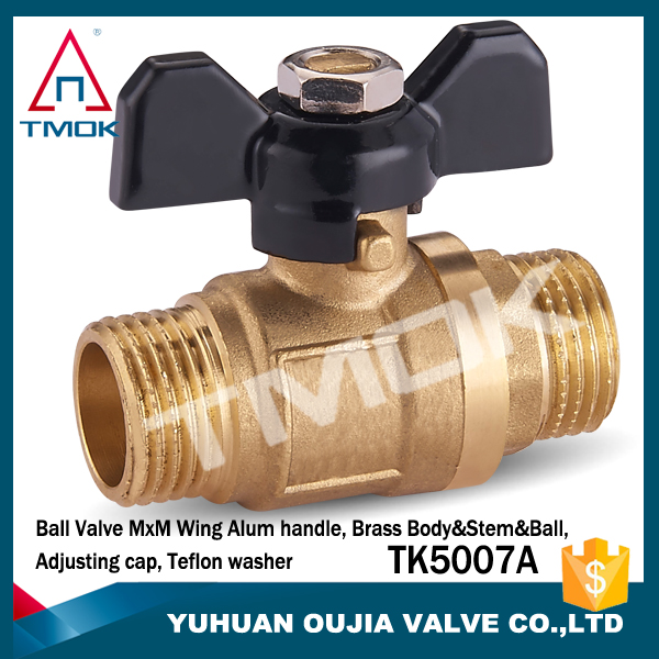 "Male to Female 1/2"" NPT Threaded Butterfly Handle Brass Ball Valve"