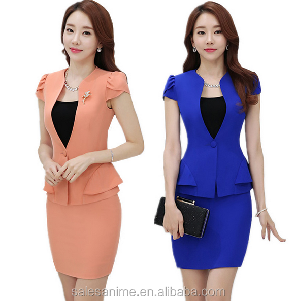 Custom Summer New Slim Blazer Mini Skirts Set Work Uniforms Office Women Wear Chothes Lady Suit