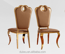 High end gold gilt stainless steel chair hotel room conference meeting chair
