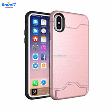 Wiredrawing tpu pc credit card holder case for iphone 10case,for iphone X 10 ten phone case cover with card slot