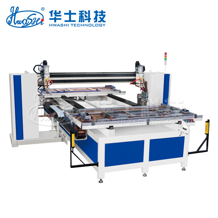 Hwashi CNC Medium Frequency Mild Steel Door Sheet Metal Spot Welder with XY Axis Automatic Movable Feeder