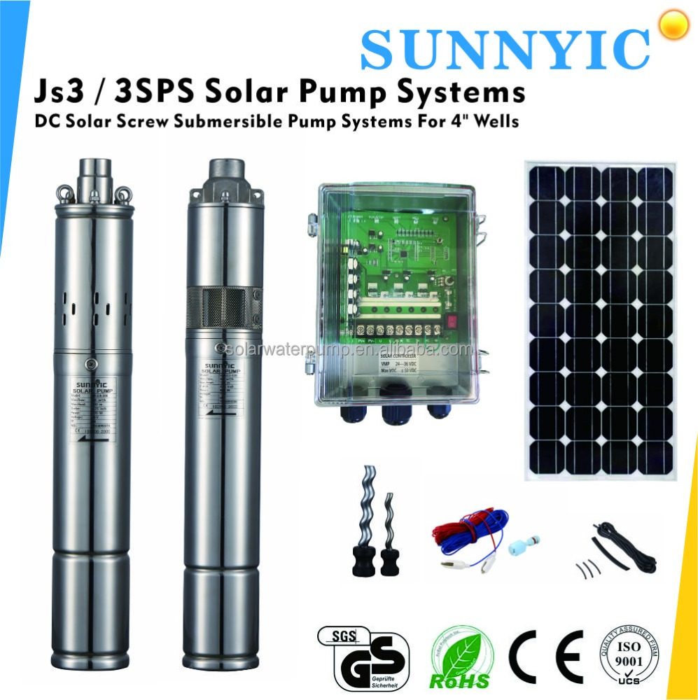 JS3-1.3-50 3 Inches Solar Screw Water Pump System.(Brushless DC Motor , MPPT controller, More than 30000 Hour Service Life)