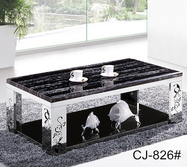 Superior Home Furniture Modern Design Stainless Steel Marble Coffee/tea Table CJ 809
