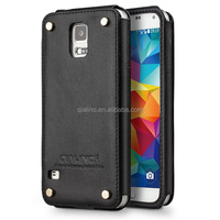 2015 hot sale QIALINO Luxury Genuine Leather business back cover leather case for samsung galaxy S5