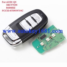 Smart car key for AUDI Q5 A4L 754c 3-button 868mhz with uncut small key balde remote keys