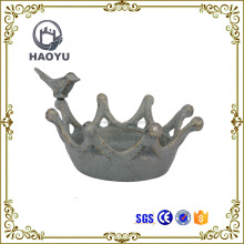Antique cast iron metal garden crown bird bath for home decoration