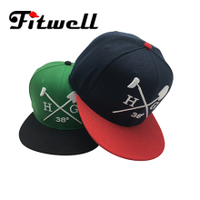 Custom logo snapback caps hats in black with embroidery
