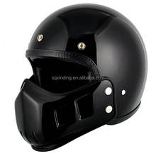 Retro Full Face Fiberglass German Motorcycle Helmet Black