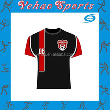 red black soccer jersey with custom logo and number at favorable price OEM
