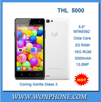 "Newest THL 5000 Mobile Phone MTK6592 Octa Core Android 4.4 5.0"" 1080P IPS Coning Gorilla Glass 3 16GB ROM 5000mAh Battery 13.0MP"