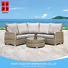 Simple american design best new balcony rattan 3 seater cushion sofa set
