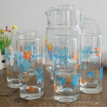 Cheap Flower Printed Glass Cup With Jug Set, Glass Water Jug Design Cup Logo Custom Promotional Glass