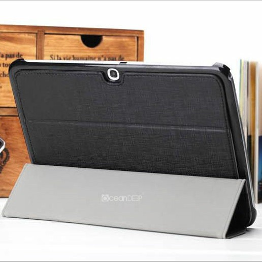 Best quality 3 folded smart cover for samsung galaxy tab 3 10.1 p5200 leather cases laptop standing up pouch