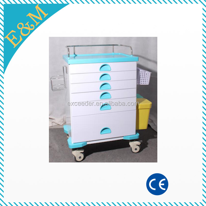 Stailess steel side rail with ABS material top board medicine delivery trolley