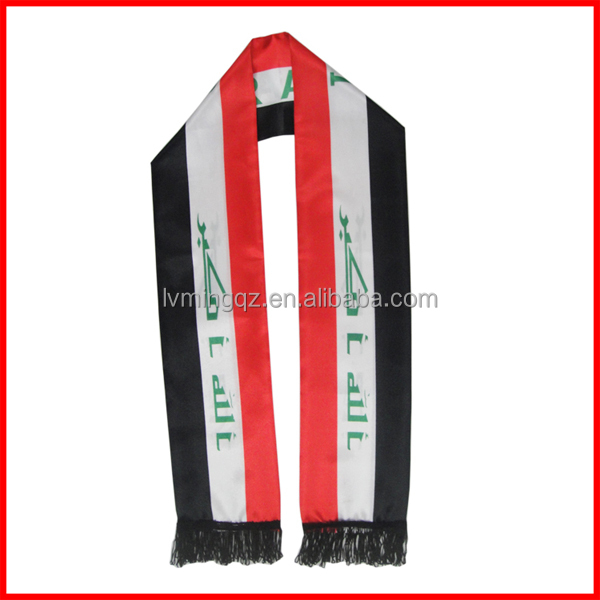 red white black scarf, popolur football fans scarf,130*14cm Iraq flag scarf