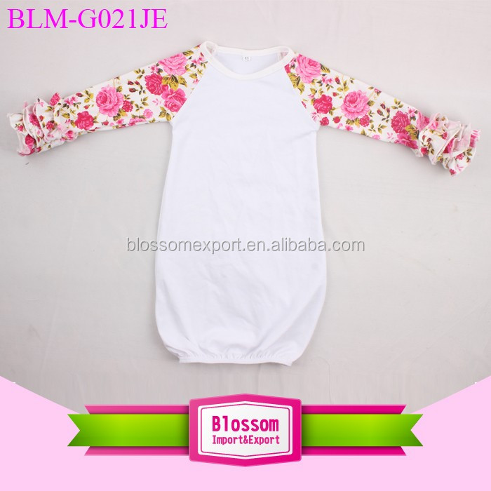 Newest Design Leopard Ruffle Raglan Sleeve Infant Kids Baby Night Gown Long Sleeve Blank Icing Ruffle Raglan Gown Baby