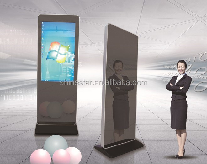 Lobby standing 42 inch LCD signage totem advertising display with mirror surface