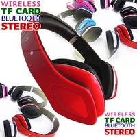 high quality wireless headphone bluetooth stereo headset & handfree with mic support TF CARD FM Radio mp3 red