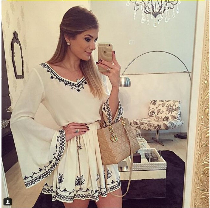New Autumn Lastest Design Ladies Dress long sleeve vintage embroidery v neck mandarin sleeve autumn dress Casual Dress