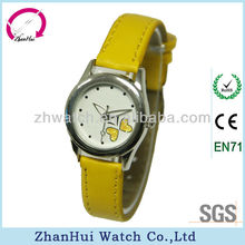 2013 new lady quartz wrist watches yellow bracelet leather child fashion watch very popular as Xmas gifts made in China