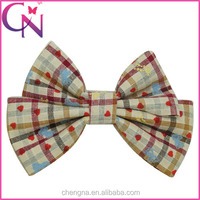 New Style Plaid Fabric Alligator Hair Bows On Sale CNHBW-1505096-M