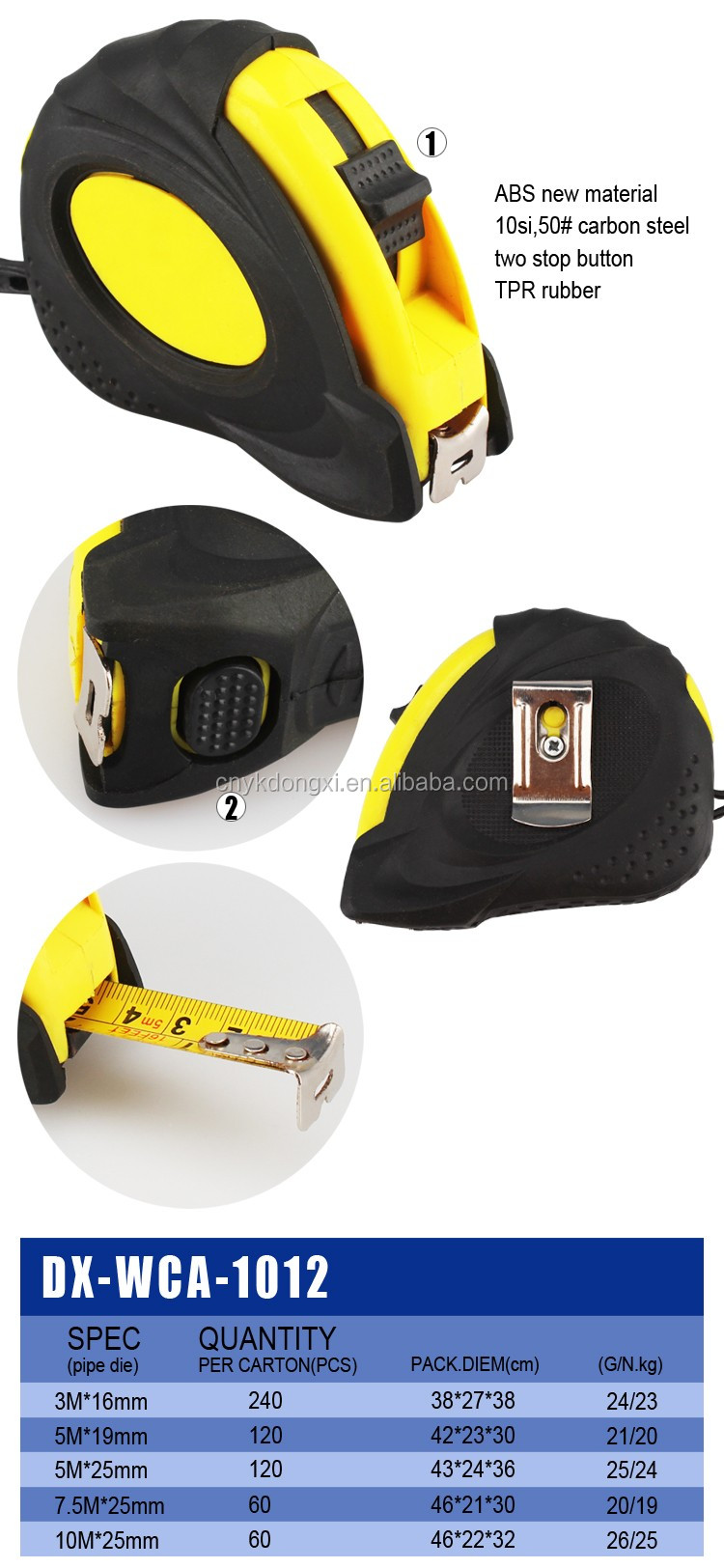 Durable carbon steel retractable steel tape measure for DIY using