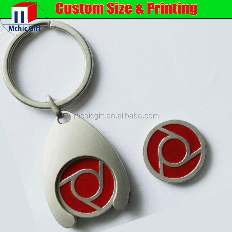 custom logo cheap metal wishbone trolley coin key ring for promotion