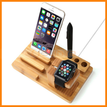 Mobile Phone Watch Holder Multifunction Bamboo Wood Charging Stand For Apple Watch