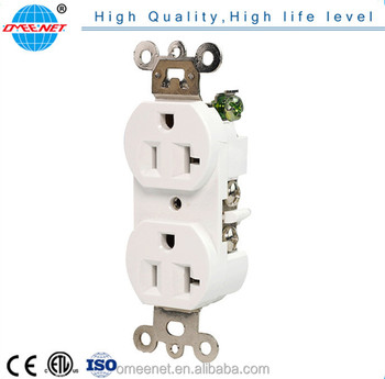 20A 3 Wire White Duplex Receptacle Commercial Grade Receptacle